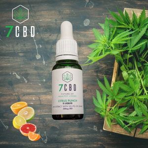 CBD tincture with citrus fruit slices on the left and a box of hemp leaves on the right